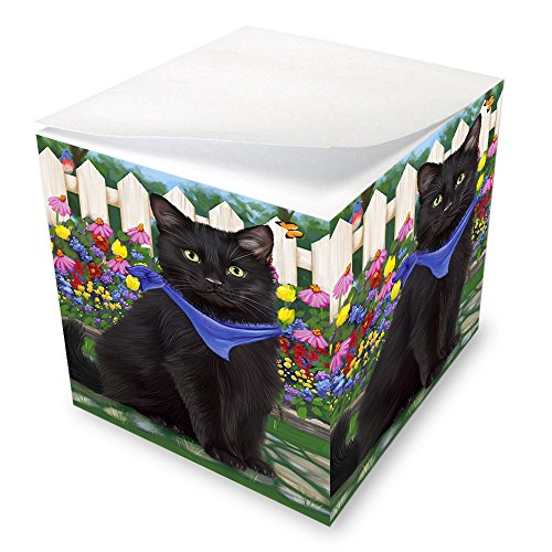 Spring Floral Black Cat Note Cube NOC52187 by Doggie of the Day