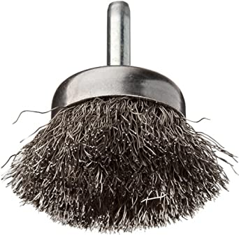 """Weiler Stem-Mounted Wire Cup Brush, Round Shank, Stainless Steel 302, Crimped Wire, 1-3/4"""" Diameter, 0.0118"""" Wire Diameter, 1/4"""" Shank, 3/4"""" Bristle Length, 13000 rpm (Pack of 1)"""
