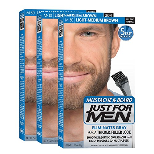 Just For Men Mustache & Beard Brush-In Color Gel, Light-Medium Brown (Pack of 3, Packaging May Vary)