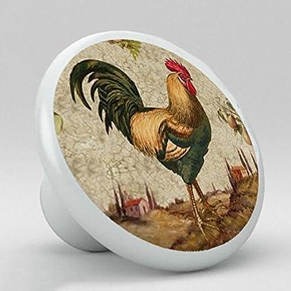 country rooster chicken ceramic knobs pulls kitchen drawer dresser rh amazon com