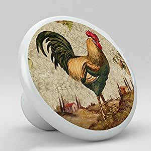 country kitchen cabinet knobs country rooster chicken ceramic knobs pulls kitchen drawer 6005