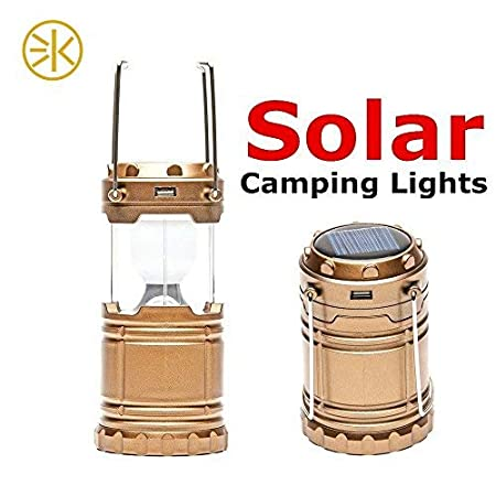 3Keys Solar Power Camping Lantern Light Rechargeable Collapsible Night Light Waterproof Outdoor Super Bright Hiking Flashlight Camping Lantern & Portable Outdoor Handheld Led Flashlight Emergency Lights (Gold)