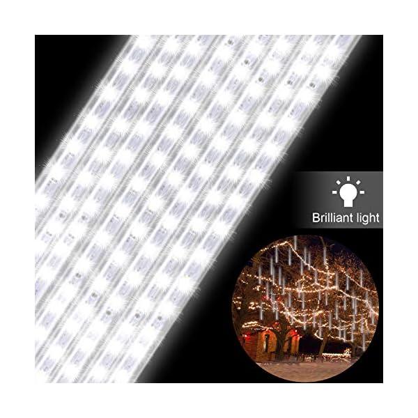GPODER Doccia Pioggia Luci 30CM, 8 Impermeabile Tubo Luci della Pioggia di Meteore, 288 LEDs Waterfall Light per Natale/Esterno/Albero/Casa/Giardino/All'Aperto Decorazione(Bianco) 3 spesavip