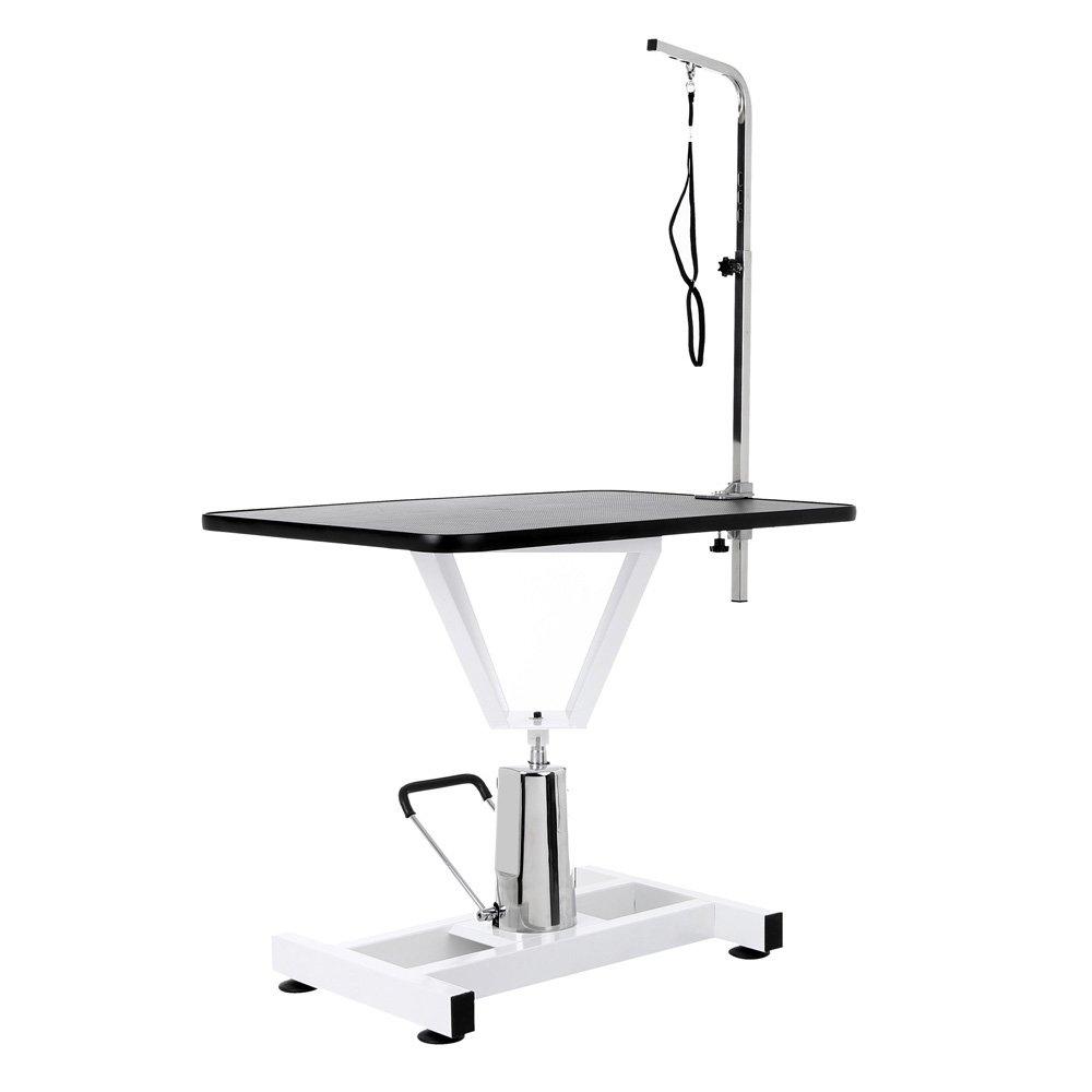 iKayaa 36'' Adjustable Hydraulic Pet Dog Grooming Table W/ Arm and Noose 360°Swivel Tabletop