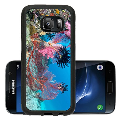 Luxlady Premium Samsung Galaxy S7 Aluminum Backplate Bumper Snap Case IMAGE ID 26103726 Beautiful pink tropical underwater corals with a large red seafan on reef surrounded by clean blue water