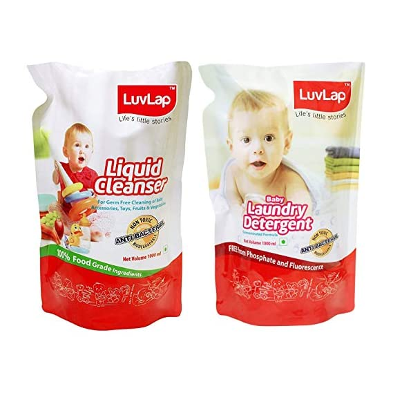 Luvlap Anti-Bacterial Baby Accessories and Vegetable Combo Pack (Detergent Refill 1000ml + Cleanser Refill 1000ml)