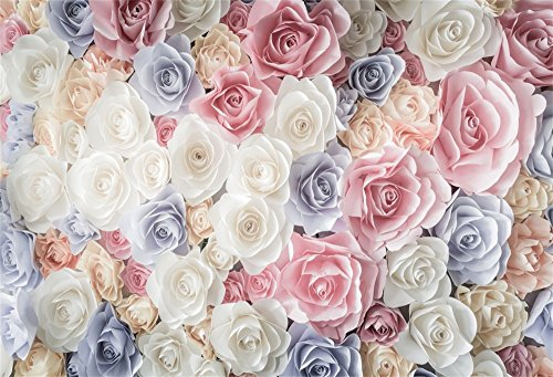 OFILA 5x3FT Vinyl Photography Backdrop Valentine's Day Paper Rose Flowers Romantic Wedding Background Girls Princess Lover Photo Studio Props