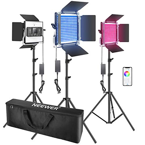 Neewer 3 Packs 660 RGB Led Light with APP Control, Photography Video Lighting Kit with Stands and Bag, 660 SMD LEDs CRI95/3200K-5600K/Brightness 0-100%/0-360 Adjustable Colors/9 Applicable Scenes