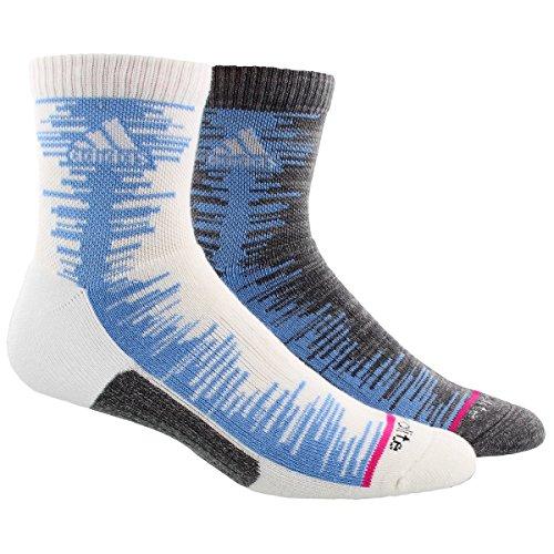 adidas Men's High Quarter Socks (2 Pack), White/Collegiate Light Blue/Onix Marl/Shock Pink, Men's Shoe - Quarter Blue