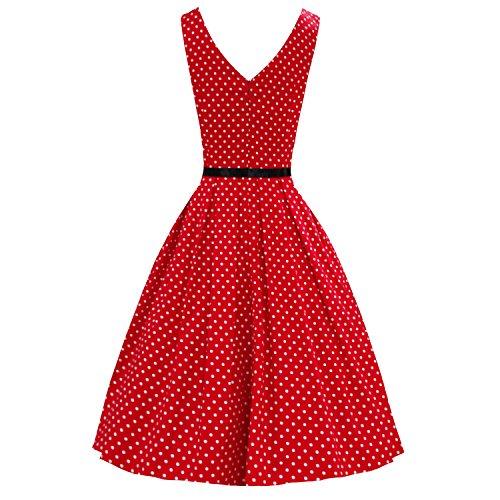 LUOUSE 'Lana' Vestidos Mujer Corto Vintage Retro Estilo de 1950 Rockabilly Escote Elegante V095-lunares rojo
