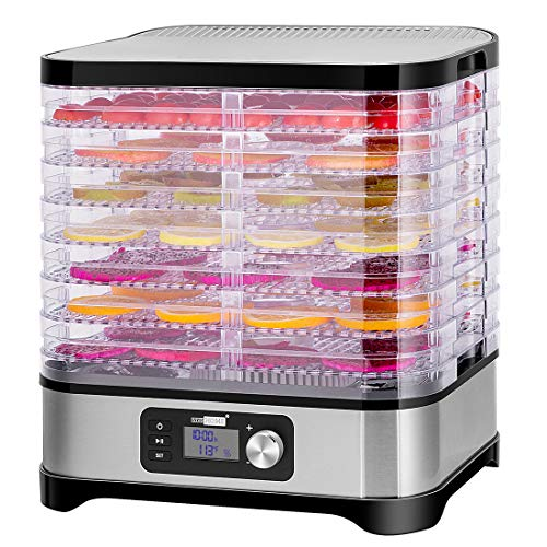 VIVOHOME Electric 400W 8 Trays Food Dehydrator Machine with Digital Timer and Temperature Control for Fruit Vegetable Meat Beef Jerky Maker BPA Free
