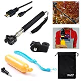 EEEKit Outdoor Sport Essential 5-in-1 Accessory Kit for Sony Action Cam HDR-AS15/AS20/AS30V/AS100 /Sony Action Cam HDR-AZ1 Mini/Sony FDR-X1000V/W 4K Action Cam Cameras, Floating Handheld Grip Mount Pole + Mount Adapter + Handheld Monopod Extendable Extending Telescope Holder + Micro HDMI to HDMI Cable 6 Feet + EEEKit Storage Pouch Bag