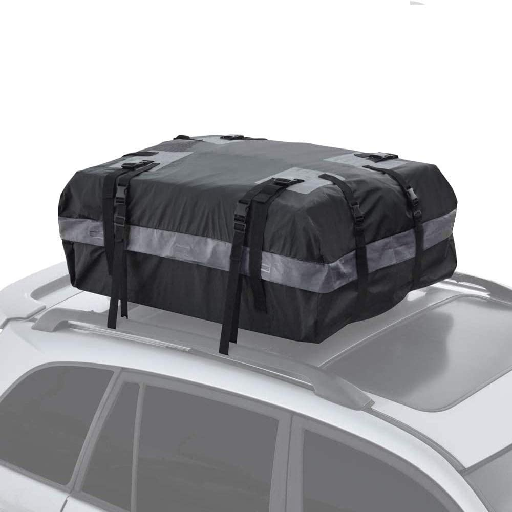 Merece Car Rooftop Bag Cargo Carrier XXL Car Top Carrier 15 Cubic Feet Waterproof Rooftop Cargo Carrier with Anti-Slip Mat Straps Door Hooks for All Vehicle with or Without Racks