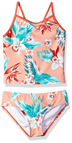 Kanu Surf Big Girls' Melanie Beach Sport 2-Piece Banded Tankini Swimsuit, Alania Floral Coral, 12