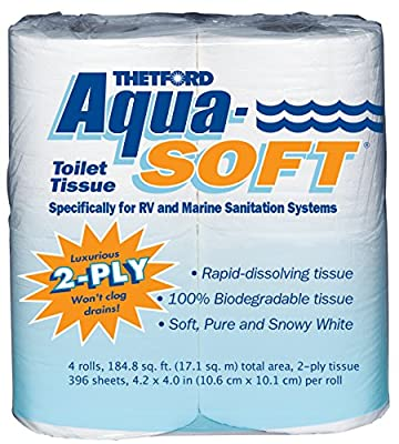 Thetford 03300 Aqua-Soft Toilet Tissue, 2-Ply, 4 Rolls
