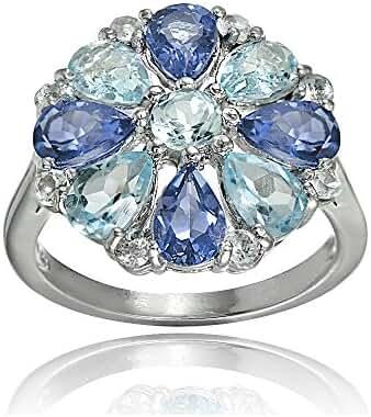 Sterling Silver Genuine Tanzanite, Aquamarine and White Topaz Flower Ring