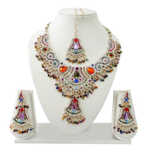 Indian Bollywood Jewelry Set Ethnic Gold plated Necklace set with Earrings and Maang Tikka JS8094 Multi