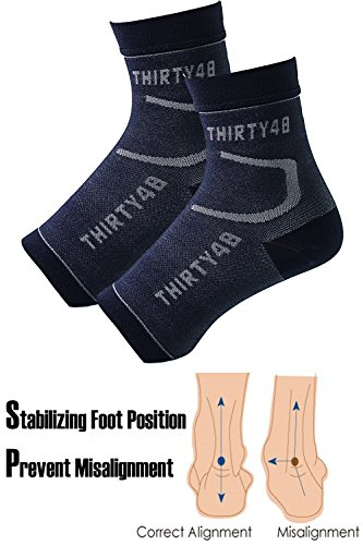 Thirty 48 Plantar Fasciitis Socks, 20-30 mmHg Foot Compression Sleeves for Ankle/Heel Support, Increase Blood Circulation, Relieve Arch Pain, Reduce Foot Swelling (Black & Pink (2 Pairs), X-Large) by Thirty 48 (Image #3)