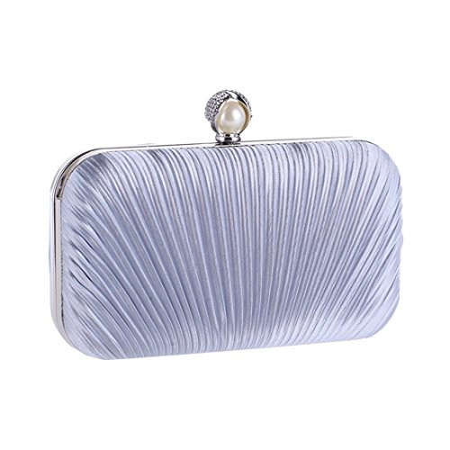 Evening Clutch Purse Fabric Fashion Bag KERVINFENDRIYUN Handbag Blue Bag Women's Craft White Diamond Pleated Bag Color 0CnAq