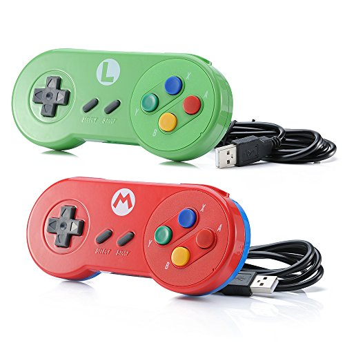 Data Frog 2 PACK Retro SNES Classic PC Game Controller Windows 10 Gamepad Joysticks USB Game Controller Mac Linux, Joypad Joystick for Raspberry Pi 3 Steam Super Nintendo
