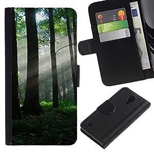 Nature Beautiful Forrest Green 80 Colorida Impresión Funda Cuero Monedero Caja Bolsa Cubierta Caja Piel Id Credit Card Slots Para SAMSUNG Galaxy S4 IV / i9500 / i9515 / i9505G / SGH-i337