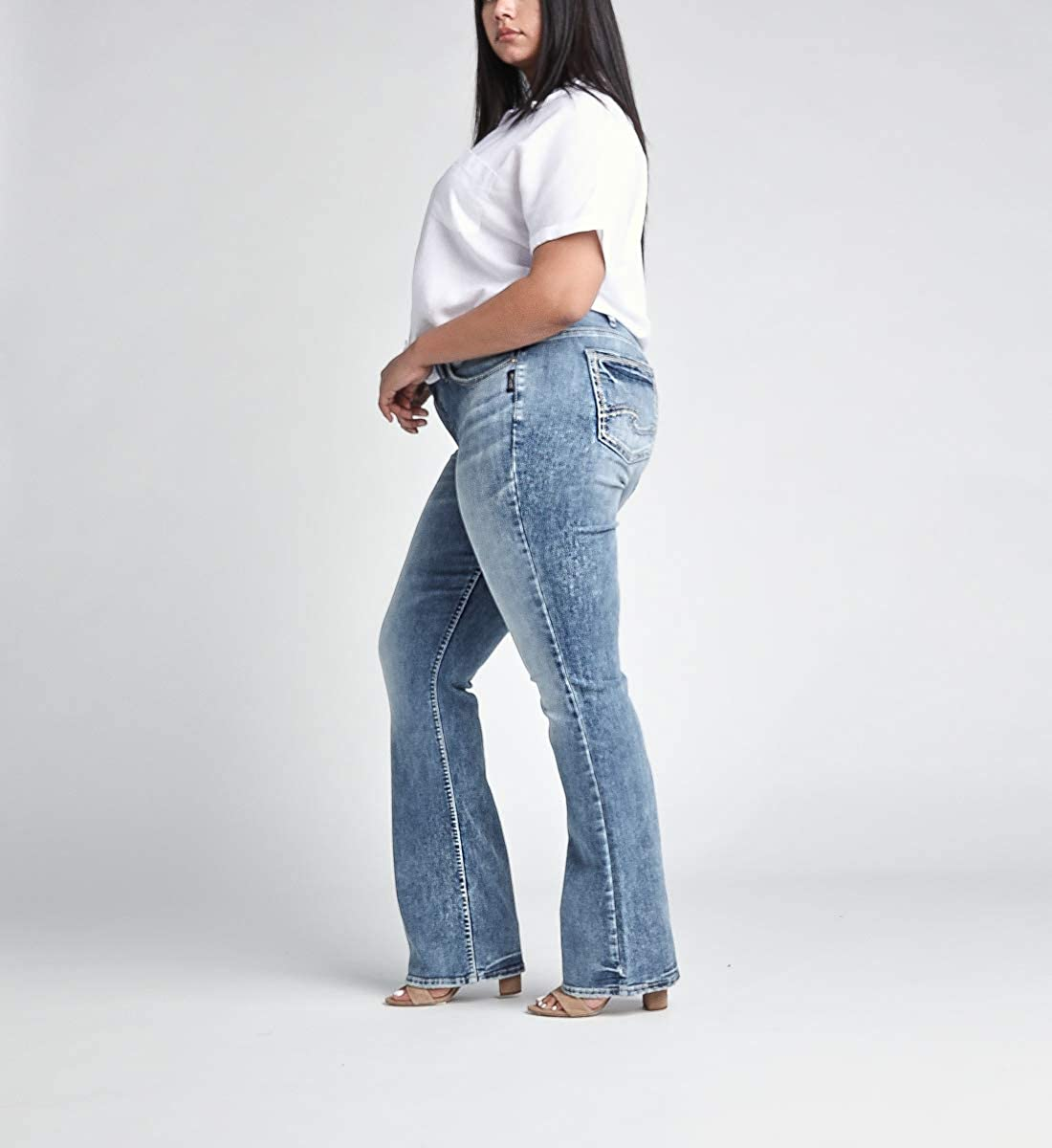Silver Jeans Co Womens Plus Size Elyse Curvy Mid Rise Slim Fit Bootcut Jean