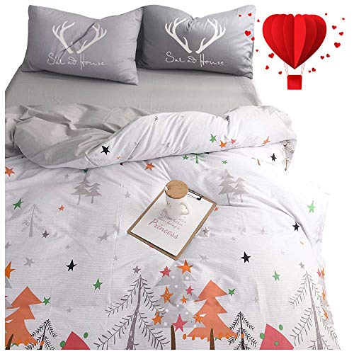 Christmas Twin - BuLuTu Star Kids Duvet Cover Twin Egyptian Cotton,Neutral Modern Forest Tree 3 Pieces Duvet Cover Set White Grey,Hotel Twin Boys Girls Bedding with Zipper Closure,Lightweight,Breathable,No Comforter