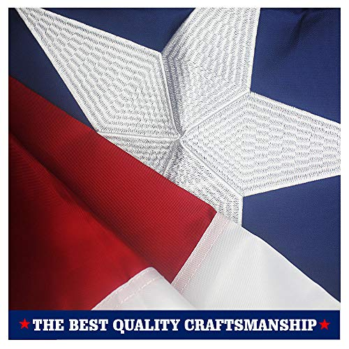 VSVO Texas State Flag 3x5 ft - Durable 240D Nylon Outdoor Flags- UV Protected, Embroidered Stars, Sewn Stripes, Brass Grommets Outside US Flags.