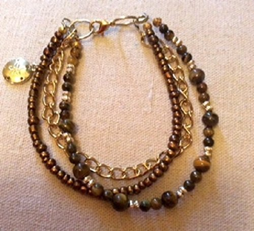 Triples Standard Chain (Tiger's Eye Beaded Bracelet Triple Strand Bracelet Gold Tone Cable Chain Bracelet Chocolate colored beads, Free Standard)