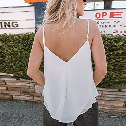 Damen V-Ausschnitt Spitze Tanktop T Shirt Weste Bluse Ärmellos Oberteile Sommer