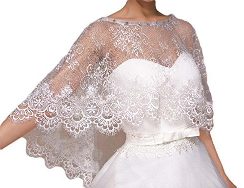 OYISHA Lace Beading Bridal Shrug Stole Shawl Wedding Bolero Jackets Ivory