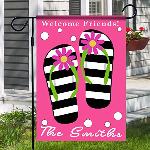 Ranche Custom Polyester Garden Flag,Without Flagpole,Welcome Friends Zebra Flip Flops Crazy Daisy