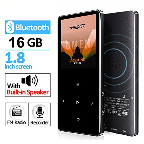 GREATLINK 16GB MP3 Player Bluetooth with Built-in Speaker Touch Buttons Metal Shell FM Radio & Voice Recorder, Sport MP 3 HiFi Music Player Portable Walkman,Supports up to 128GB for Sports,Black (Recorder Mp 3)