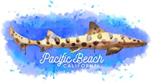 Pacific Beach, California - Leopard Shark - Watercolor 106245 (24x36 Giclee Gallery Print, Wall Decor Travel Poster)