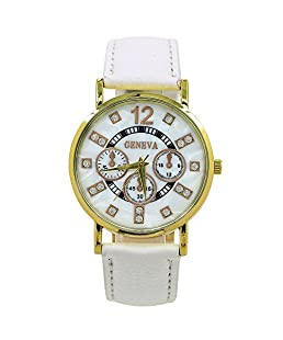 Sanwood Women's Shell Texture Dial Faux Leather Wrist Watch White