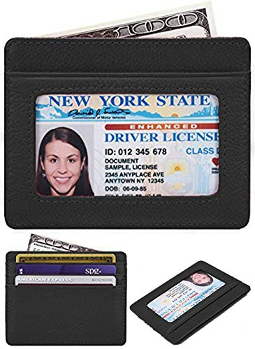 KALMORE Unisex-Adult's Petite Credit Card Holder Leather Slim Minimalist Wallet, black With Id window, Classic (Ultra Holder Thin Card)
