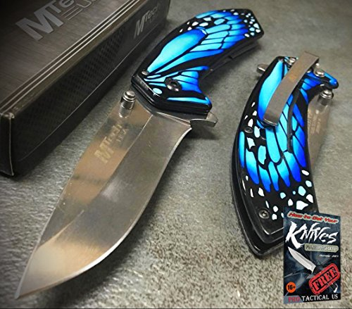 MTech USA Ballistic Blue Butterfly Handle Fantasy Pocket Collectible Limited Ed Elite Knife + free eBook by ProTactical'US