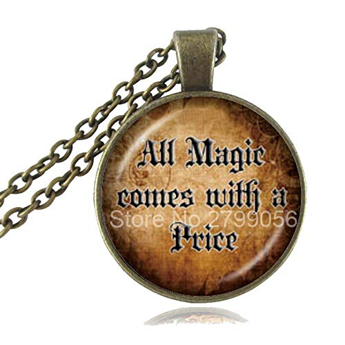 Once Upon A Time Inspired Necklace All Magic Comes with A Price Quote Pendant Glass Cabochon Photo Sweater Necklace Accessories