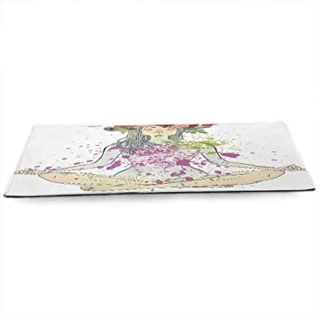 Amazon.com : funkky Yoga Fitness Yoga Mat Girl with Floral ...