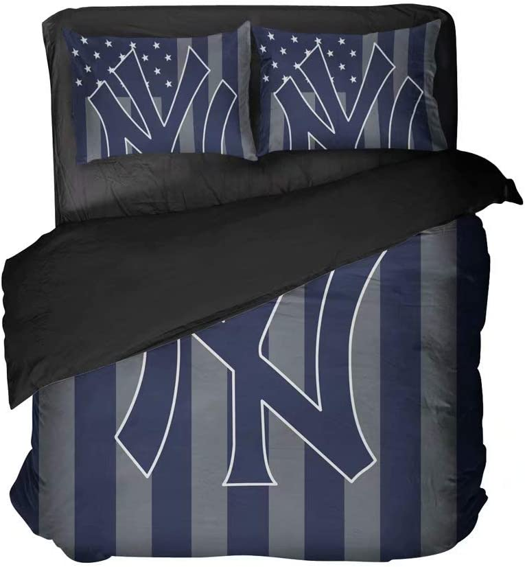 Wowdm New York Baseball Bedding Set Lightweight Sports Bedding 4 Piece Queen Size Quilts Cover with 2 Pillowcases for Men/Boys/Fandom(King 3pcs)