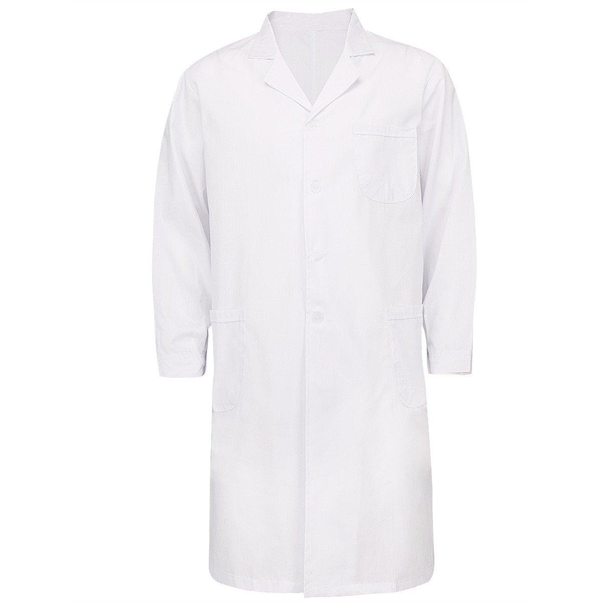 YiZYiF Mens Womens Long Sleeve Lab Coats Medical Doctor Nurse White Long Jacket Mens XX-Large