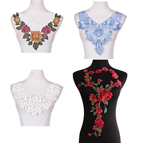 5 Pcs Embroidered Patches Flower Neckline Patches Neck Collar Trim Clothes Sewing Applique Different Type Decorative Fabric A
