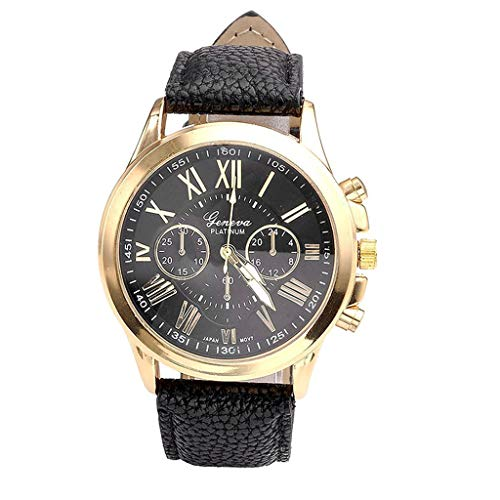 (Womens Watch,WoCoo Analog Quartz Roman Numerals Dial Wrist Watch with Leather Band Watches Gifts for Her(Black))