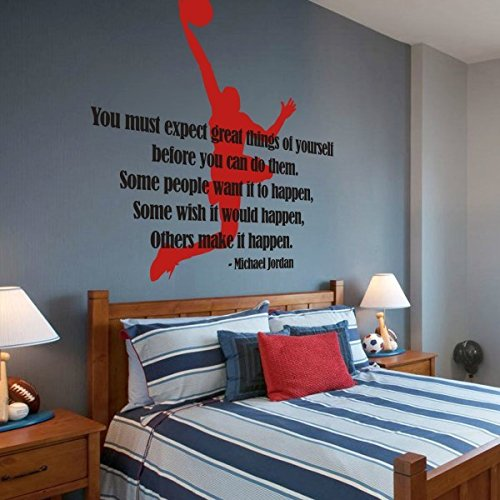 MairGwall Sport Decal Basketball Action - Michael Jordan Dunking Ball into the Net Teen Boy Room Art Graphics (Medium,Player-Tomato Red; Words-Black) (Basketball Rim Paint compare prices)