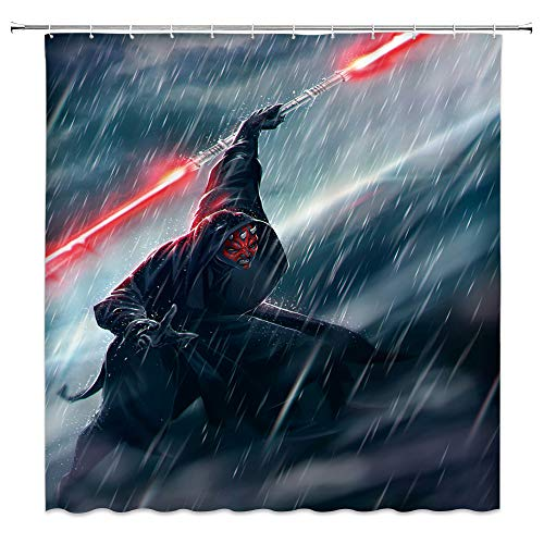 qianliansheji Star Wars Theme Shower Curtain Darth Maul Shower Curtain Domineering Horror Does Not Fade Waterproof Mildew 70 × 70 Inches(Multi 8066)