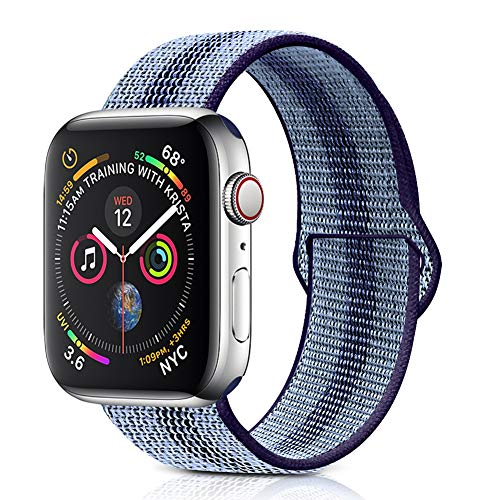 Winmy Sport Loop Nylon Band for Apple Watch Bands 44mm 42mm, Lightweight Breathable Woven Replacement Wrist Strap for iWatch Series 4 3 2 1, Sport, Edition - Blue Purple Stripe