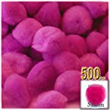 The Crafts Outlet 500-Piece Multi purpose Pom Poms, Acrylic, 51mm/about 2.0-inch, round, Neon Pink