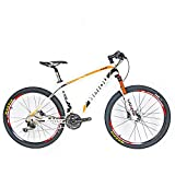 """BEIOU Carbon Fiber Mountain Bike Hardtail MTB SHIMANO M610 DEORE 30 Speed Ultralight 10.65 kg RT 26 Professional Internal Cable Routing Toray T800 Glossy CB018 (White Orange, 15"""")"""