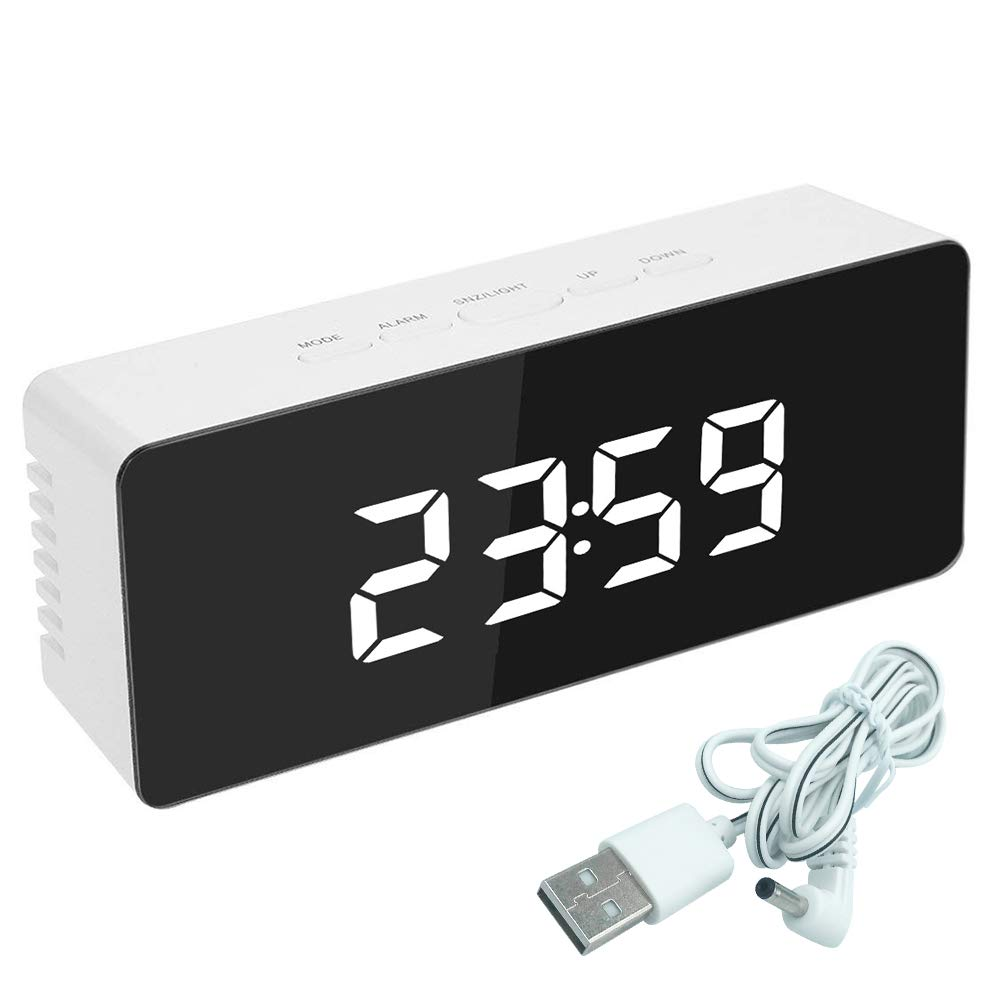 Souarts Digital Wecker Uhr LED Spiegel Display Dual Alarm Snooze Funktion Helligkeitsdimmer FM Radio
