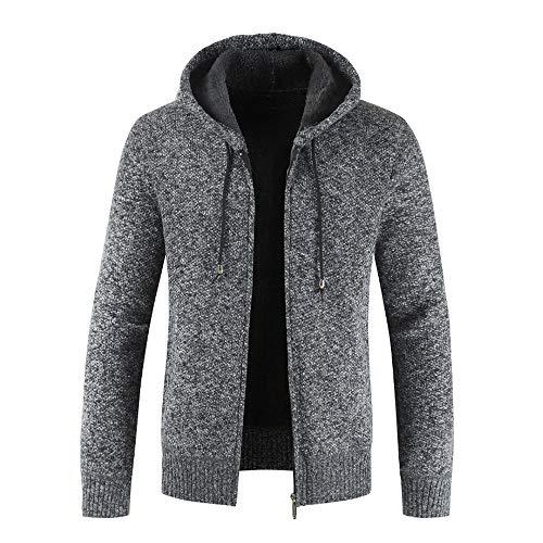 QBQCBB Men's Casual Autumn Winter Coat Zipper Fleece Hoodie Heavyweight Outwear (Black,L)